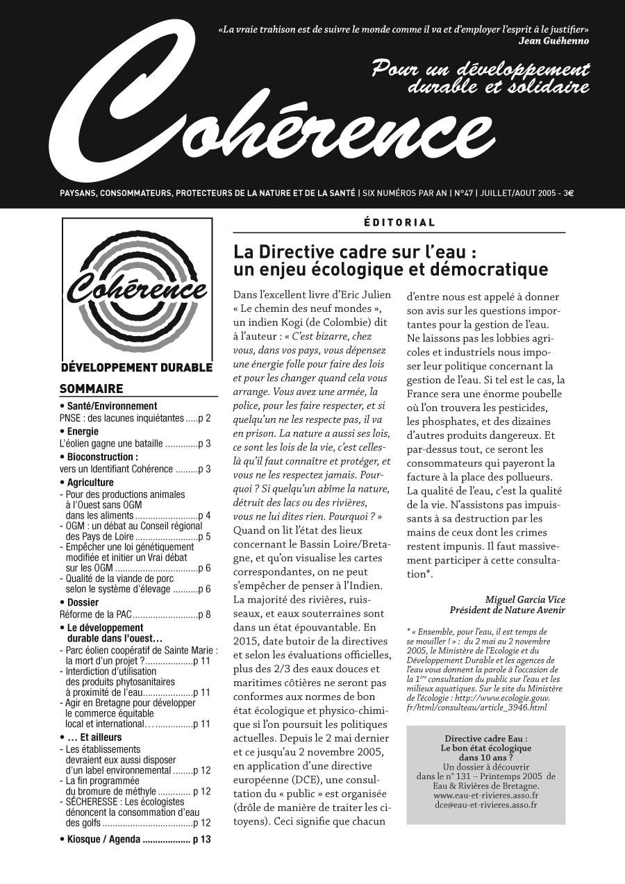 Maquette de la revue du développement durable Cohérence