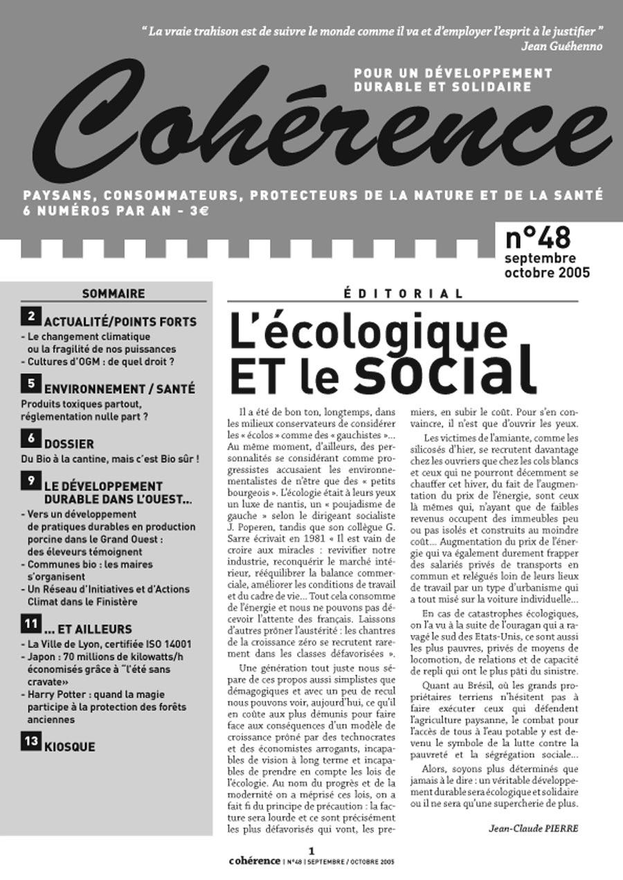 Maquette de la revue de développement durable Cohérence