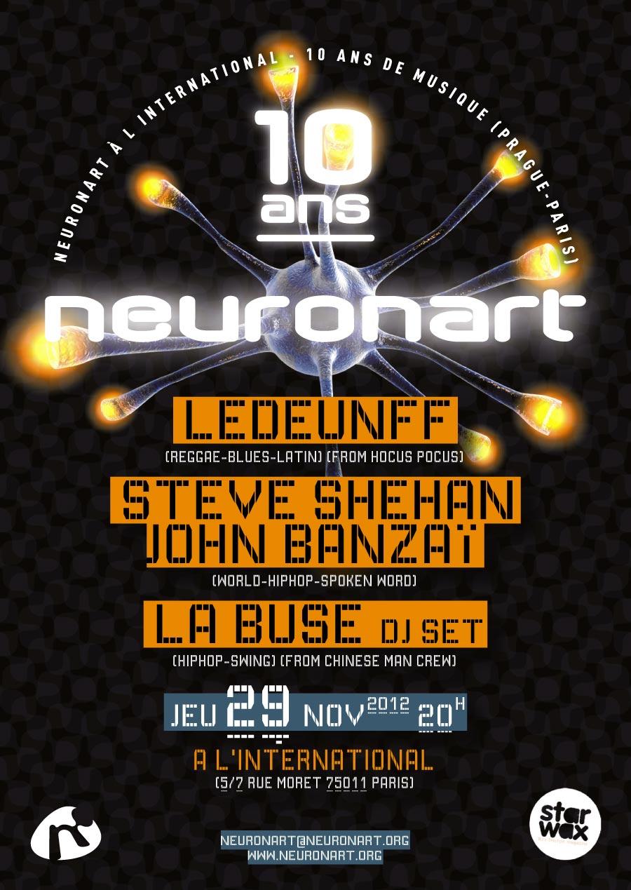 Flyer pour les 10 ans du label Neuronart (recto)