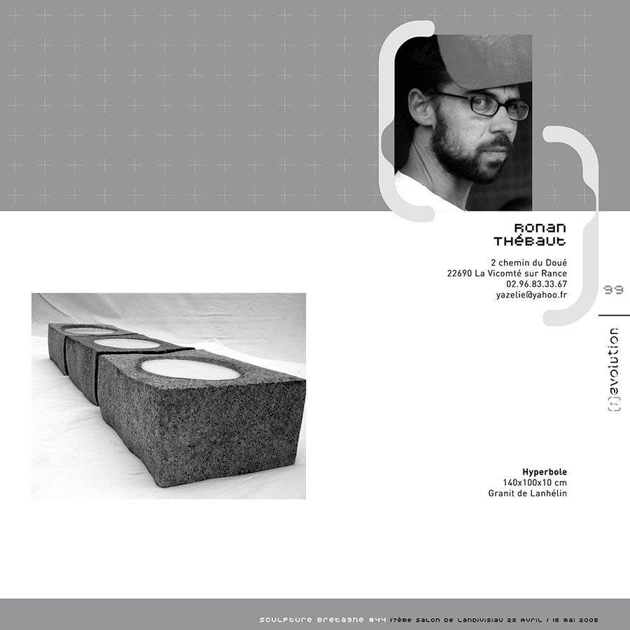 Pages intérieures du catalogue d'expo (r)evolution, organisée par Sculpteurs Bretagne